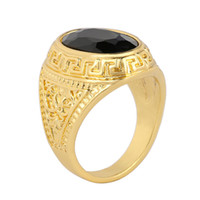 Wholesale Peraonality New Unisex Black Onyx Gem Carved Jewelry Simple Ring European And American For Fashion