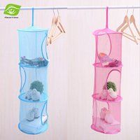Wholesale 2pcs layers Folding Storage Hanging Basket Multi Color Mesh Clothes Storage Cage Toy Storage Bag dandys
