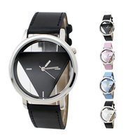 Fashion band triangle - S5Q Classic Stainless Steel Triangle Dial Leather Band Analog Quartz Wrist Watch AAAEQK