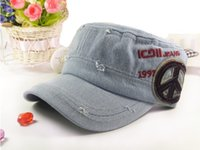 Wholesale HT185000 New fashion hat for man and woman flat baseball cap vintage denim cap military hat
