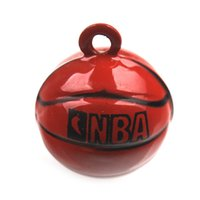 basketball christmas ornament - 30pcs Copper Jingle Bells Wine Red Basketball Bell Fit Cell Phone Keyring Party Decoration mm