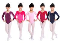 Wholesale Brand new children kids girls spring autumn winter velvet Lycra cotton long sleeve Purple pink blue ballet dance gymnastic leotard