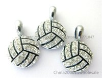 Wholesale 10pcs Volleyball Rhinestone Hang Pendant Charms Fit Pet Collar Phone Strips