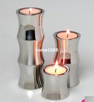 bamboo candle holder - Stainless steel bamboo shape modern Candle Holders set