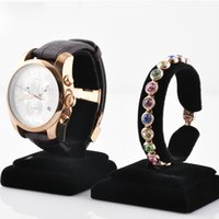 Bracelet Watch bangle holder stand - Black Velvet Bangle Bracelet Watch Display Stand Rack C Ring Watch Ring Holder Jewelry Display Props
