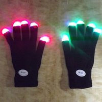 Fingerless Gloves Others Man Wholesale-Free Shipping New Rainbow Flash Fingertip LED Gloves Unisex Light Up Glow Stick Gloves Mittens