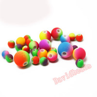 Wholesale Top quality Mixed Candy Double Color Acrylic Rubber Beads Neon Matte Round spacer loose beads Fit Jewelry Handmade mm