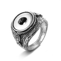 antique silver engagement rings - Antique silver embossment pattern snap jewelry fashion ring fit Noosa chunk snap alloy button for women pryme jewelry