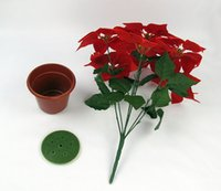 artificial flowers poinsettia - Christmas Poinsettia Silk Artificial Flowers Christmas flowers inches Holiday home decors Christmas supplies wedding decorations