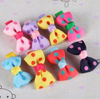 dot ribbon - Baby Girls Ribbon Bows with Clips Children Grosgrain Bowknot Dot Hair clips Girls Hair Accessories Kids Barrettes Colors
