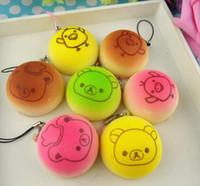 Wholesale hot cm Kawaii Squishies Bun Bag Charm Color Rilakkuma Bean Rare Squishy Bread Mobile Phone Straps