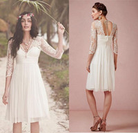 Wholesale Vintage Lace Backless Beach Short Wedding Dresses V Neck Long Sleeve A Line Knee Length Chiffon Bridal Gowns Wedding Party Dresses