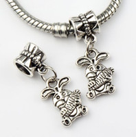 Metals bunny jewelry - 9 x25 mm Tibetan Silver The Easter Bunny Rabbit Carrot Metal Big Hole Beads Fit European Charm Bracelets Jewelry DIY B059