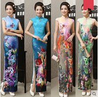 Wholesale Chinese classical dress long cheongsam outfit knitting flexibly self cultivation silk Qipao dress pink blue QP1505