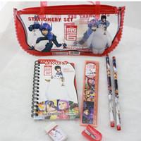 Wholesale Big Hero Student Pencil Stationery Set D cartoon Baymax children kids learning Pencil cases bags Pencils Ruler Sharpener Notebook new