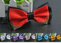 Wholesale men s bow tie double color layer metal corner shirt accessories wedding party ties butterfly