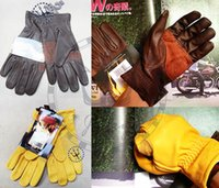 Wholesale NEW motorcycle gloves Classic goatskin leather Cycling tools For harley Yellow Brown