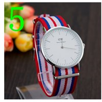 auto expressions blue - Watch tide restoring ancient ways Silver DW striped nylon canvas expression couple watch wrist watch