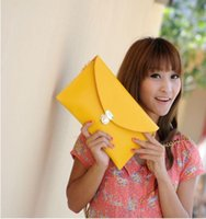 Cheap 1pc New Hot Autumn new handbag street style casual fashion personality female bag candy colored envelope bag wholesale PU 100% brand new