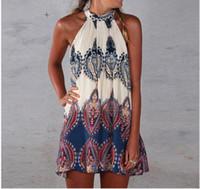 hippie clothing - Fashion Women Boho Dress Summer loose Printed Halter Style Sleeveless Hippie Mini Dress Plus Size Women Clothing Vestidos Beige