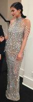 Wholesale Celebrity Dresses Exquisite Pearls Sliver Evening Dresses Train Mideast Star Red Carpet Dress Sheath Floor Length