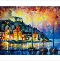 Wholesale 100 hand printed impression knife water city boat seascape canvas oil painting on canvas home wall art decoration picture