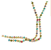 Wholesale Long Swarovski Necklace - New Arrival SWAROVSKI Elements Rhinestone Colorful Long Bead Chain Necklace Jewelry Accessories for Lady Christmas Gift