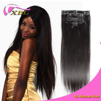 in one pc - 7Pcs One Set Clip in Hair Human Extensions Natural Color g Pc Straight Human Hair DHL Shipping XBLHair