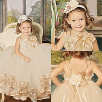 Wholesale Vintage Champagne Tutu Flower Girls Dresses For Wedding Party Straps Ribbon Edge Kids Holy Communion Dress Girls Pageant Dresses