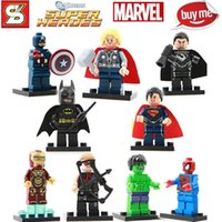 Wholesale Super Heroes The Avengers BATMAN IRON MAN SUPER MAN HULK THOR Captain Minifigures Model Building Blocks