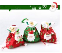 Wholesale 2015 Hot Wholesales Christmas Green Red Three Styles Santa Claus Candy Bags Christmas Indoor Decorations