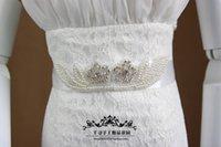 Wholesale 2015 New Gorgeous Organza Pearl Crystal beaded diamond Bridal Wedding Dress Ribbon Sashes Belts Wedding Accessories Custom made