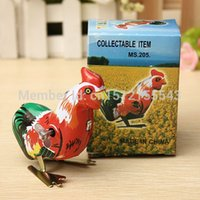 Wholesale Vintage Clockwork Wind Up Cock Rooster Tin Metal Construction Toys Perfect Collectable Gift Favors