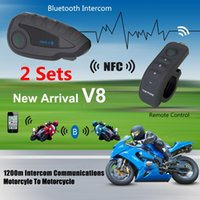 Wholesale 2016 hot x V8 Motorcycle Helmet Interphone Bluetooth NFC Intercom Headset FM M Remote Control Handle for Riders MOT_50G