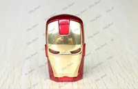 Wholesale DHL Free GB GB GB GB LED Iron Man Memory Stick Flash Drive Storage USB Silver Gold Red Silver LED Iron Man Pendrives