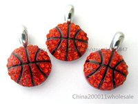 Wholesale 10pcs Basketball Rhinestone Hang Pendant Charms Fit Pet Collar Phone Strips