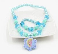 anna rose flower - Frozen jewellery princess Elsa Anna jewelry set girl rose flower chunky necklace charm bracelet childrens bubblegum beads kid christmas gift