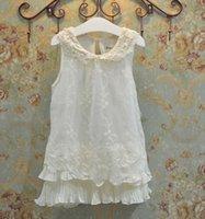 Wholesale Summer Sweet Dress For Girls Children Lace Flowers Embroidered Falbala Sleeveless Dressy Kids Tulle Chiffon Splicing Vest Skirt Beige E1382
