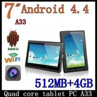 Wholesale 7 inch Allwinner A33 quad core Android Tablet pc capacitive Q88 dual camera MB GB colors PB7 A33