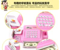 Wholesale 2015 New Arrival Large Size Supermarket Simulation Cash Register Sets Children Play House Toys with Light Music