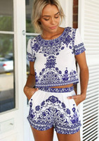 Wholesale 2015 sexy Women Cute Dress With short sleeves shorts Blue and white porcelain printing seaside leisure two piece clothing for women NVQ32
