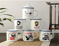 achat en gros de blancs mao-Émaille tasse à eau blanche tchèque chaise style vintage Mao imprimée
