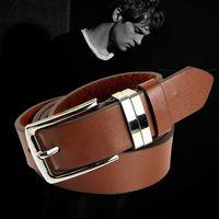 mens designer jeans - Fashion designer mens genuine leather waist belts classic alloy pin buckle jeans waist straps belt for women and men
