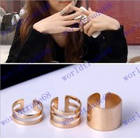 Cheap Korean Newest 3 pcs Shiny Punk Polish Gold Stack Plain Band Midi Mid Finger Knuckle Ring Set high quality Rock 2 colors
