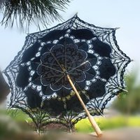 Wholesale vintage palace style spanish black handmade Parasol Umbrella for wedding Bridal batten lace woman accessories