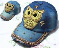 Wholesale women s canvas baseball capsof Owl fashion casual lady wear peaked caps letter design Denim cloth sun hat