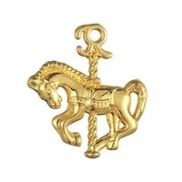 antique carousel horse - 100pcs Carousel Horse Animal DIY Finding Jewelry Charm Pendant Antique Silver Plated For Jewelry Making H106371