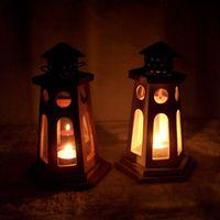Wholesale European retro wooden candlestick lantern creative wedding gift boutique Mediterranean sources