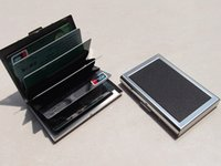 Wholesale Popular fashion leather stainless steel card boxes stainless steel card case