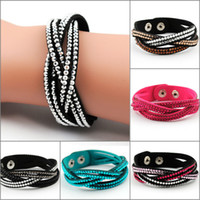 Wholesale Fashion Layer Wrap Bracelets Slake Leather Bracelets With Crystals Couple And Rivet Jewelry Charm Bracelet For Women